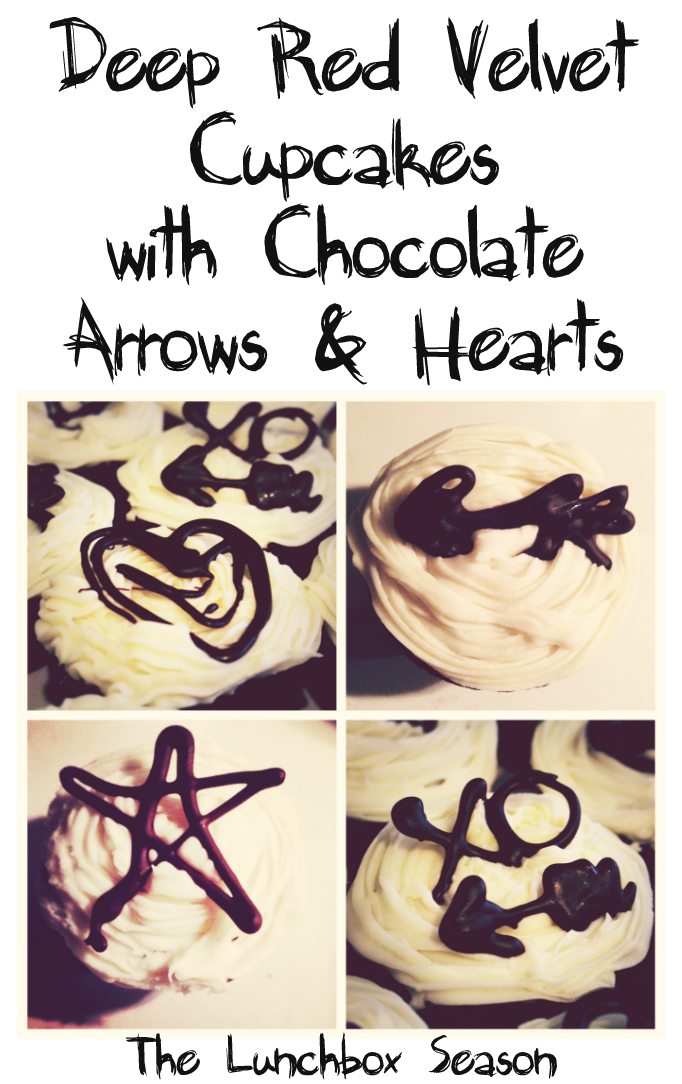 Deep Red Velvet Cupcakes with Chocolate Arrows and Hearts Recipe on The Lunchbox Season