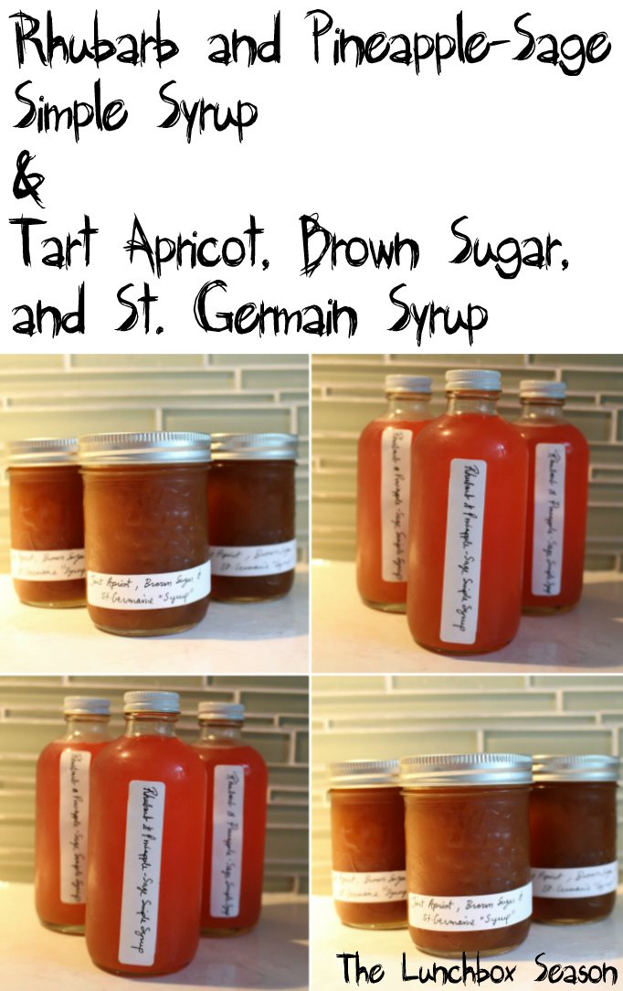 Rhubarb and Pineapple Sage Simple Syrup Recipe and Tart Apricot, Brown Sugar and St. Germain Syrup Recipe