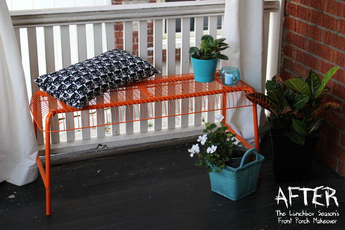 AFTER Side of Door The Lunchbox Season's Front Porch Makeover Cute Outdoor bench and cushion
