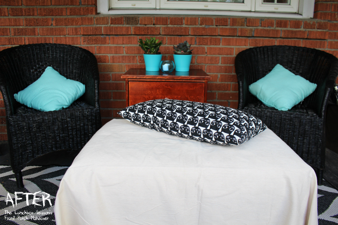 Front Porch Makeover AFTer seating are The Lunchbox Season