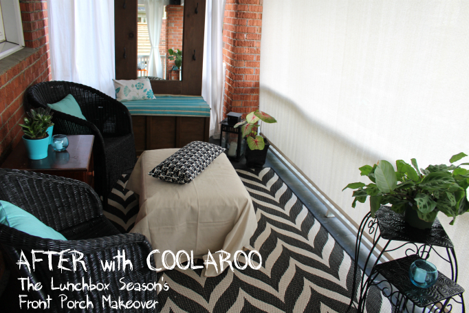 The Lunchbox Season's Front Porch Makeover Coolaroo Solar Shade